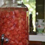 5 gallon beverage dispenser au revoir Covid Hello Summer Watermelon Cocktails www.diningwithmimi.com