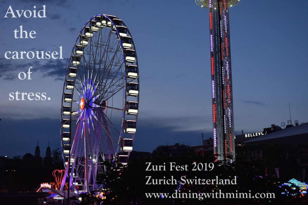 "Zuri Fest Zurich Quote ""Avoid the carousel of stress."" April 2020 Hoda Wan Kenobi www.diningwithmimi.com"