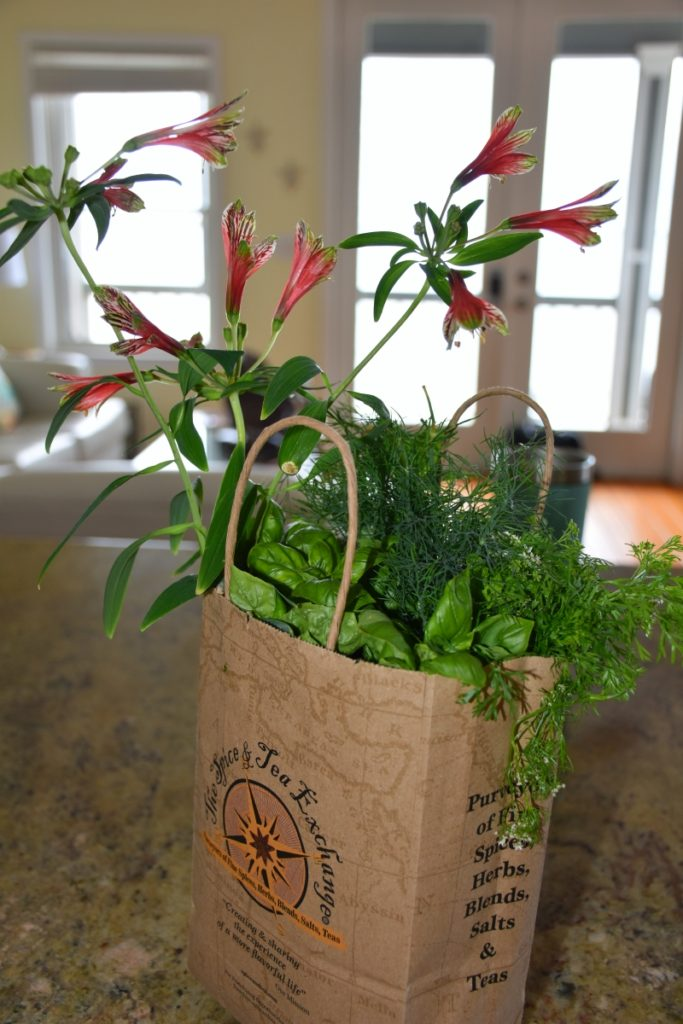 Packing herbs & flowers for Dauphin Island www.diningwithmimi.com